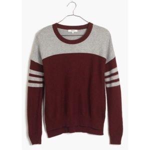 Madewell Colorblock Varsity Sweater Gray XS